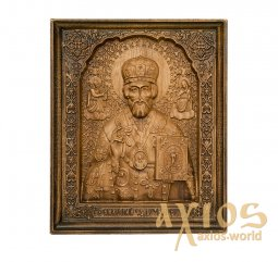 Carved wooden Icon of Saint Nicholas 20x24 sm - фото