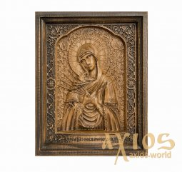 "Carved wooden icon of Our Lady ""Seven Arrows""  20x24 cm - фото"