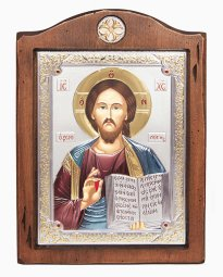 Icon of the Savior, 17x21 cm, Italian frame №3, alder tree, silvering, enamel - фото
