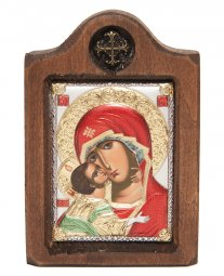 Icon of the Mother of God of Vladimir, Italian frame №1, enamel, 6x8 cm, alder tree - фото