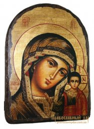 Icon of antique holy Mother of God of Kazan 17h23 see Arch - фото