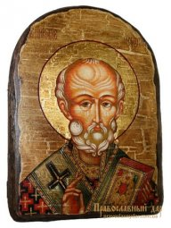Icon antique Nicholas the Wonderworker 17h23 see Arch - фото