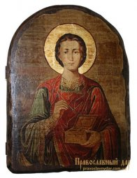 Icon Antique Holy Great Martyr and Healer Panteleimon 17h23 see Arch - фото