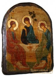 Icon Antique Holy Trinity St. Andrei Rublev 17h23 see Arch - фото