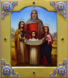 Exclusive icon << Holy Martyrs Faith, Hope, Love and their mother Sofia >> - фото
