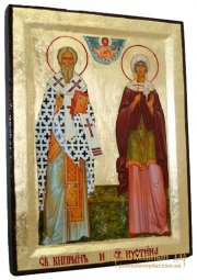 Icon Saints Cyprian and Justina in gilt Greek style 17x23 cm - фото