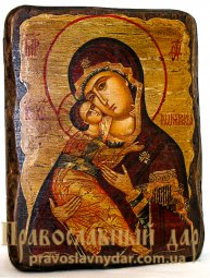Icon of the Holy Theotokos antique Vladimir 7x9 cm - фото