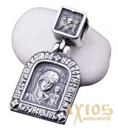 Pendant «Icon of the Mother of God of Kazan», silver 925, with blackening, 30х16 mm, О 131287 - фото