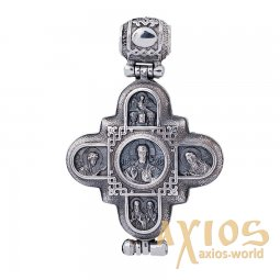 Suspension «Moshchevik-Cross. Lord Almighty. Our Lady of God», silver 925, with blackening, 47x30 cm, O 131779 - фото