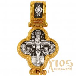 Cross The Crucifixion of Christ. Icon of the Mother of God, silver with gilding, 20x35 mm, E 8343 - фото