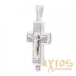 Silver cross with a crucifix, 25x25 mm, О 132258 - фото