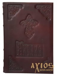 Leather-bound Bible, cover color - dark brown, decorative embossing - фото