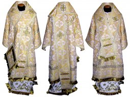 Bishop's Vestment from beige brocade R01 A - фото