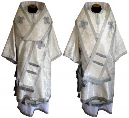 Bishop's Vestment from white brocade R01 A - фото