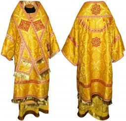 Bishop's Vestment from brocade yellow R01 A - фото