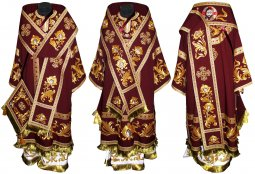 Bishop's Vestment of burgundy color with sewn galloon R042a (n) - фото