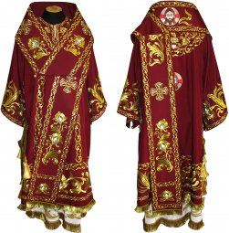 Bishop's Vestment embroidered on velvet, embroidered lace R 042 a (v) - фото