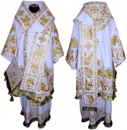 Bishop's Vestment embroidered on gabardine, embroidered lace R 052 - фото