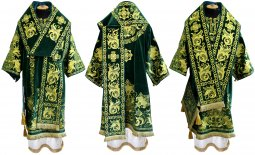 Bishop's Vestment embroidered on velvet, embroidered lace R 052 a (v) - фото