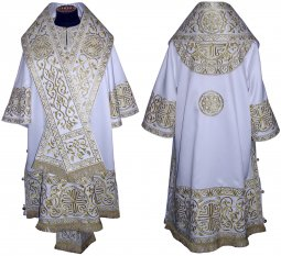 Bishop's Vestment embroidered on gabardine, embroidered lace R 060a - фото