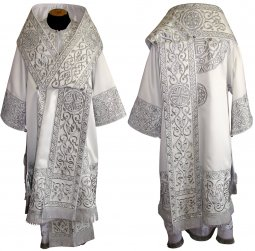 Bishop's Vestment embroidered on white gabardine, embroidered lace R060 a - фото