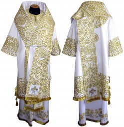 Bishop's Vestment embroidered on gabardine, embroidered lace R 080 a (v) - фото