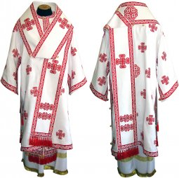 Bishop's Vestment embroidered on a singleton with embroidered lace R 085 a (v) - фото